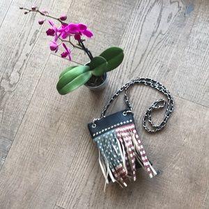 Handbags - Vegan Leather Fringed Flag Mini Crossbody Bag EUC